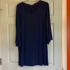 Joy Joy Navy Flare Sleeve Dress